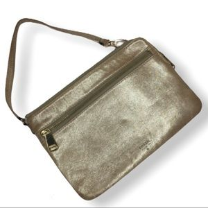 Fossil Gold Leather Wristlet